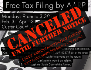 Free Tax Preparation and E-File -- CANCELED Until Further Notice